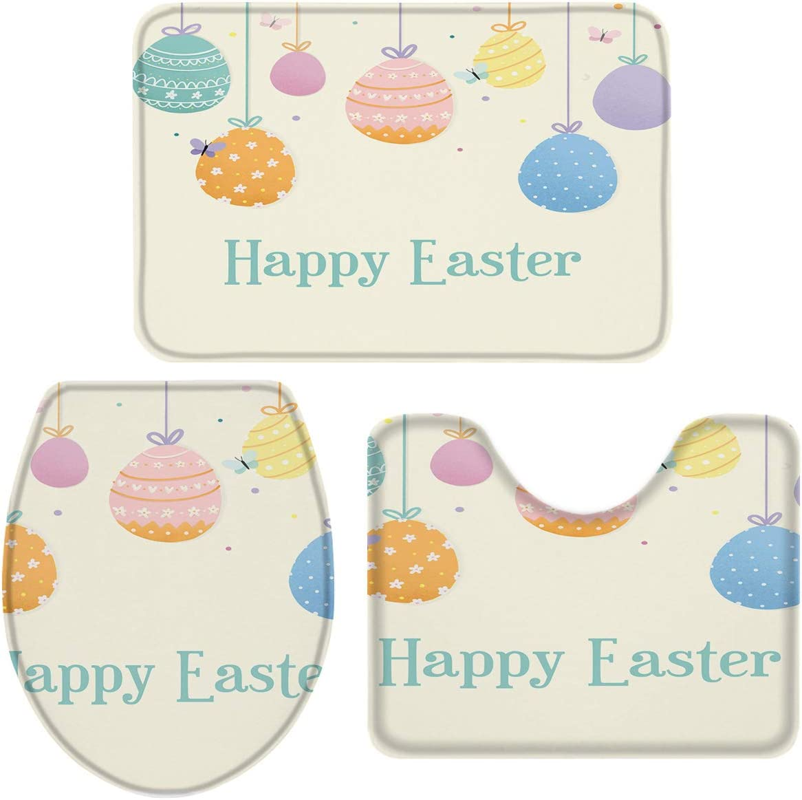Easter Day Bath Mat 3 Houston Mall Piece Bathroom Non Abs Rugs Water Our shop OFFers the best service Slip Set