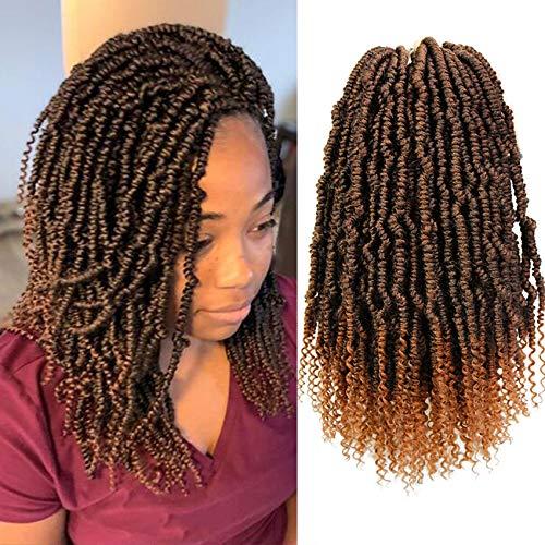 14 Inch Fluffy Spring Twist Crochet Hair Curl End 6 Packs Bomb Twist Crochet Braids Synthetic Crochet Pre Looped Passion Twist Hair(1B/30)