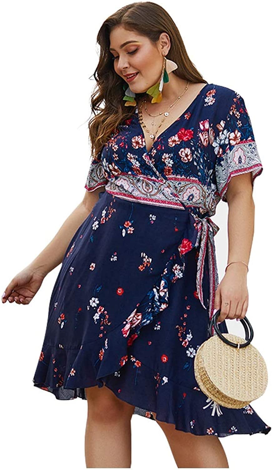 CARRY Dress, European and American Summer Big Swing Cocktail Women's Cotton Printed Ruffled Large Size Dress (Size   2XL)