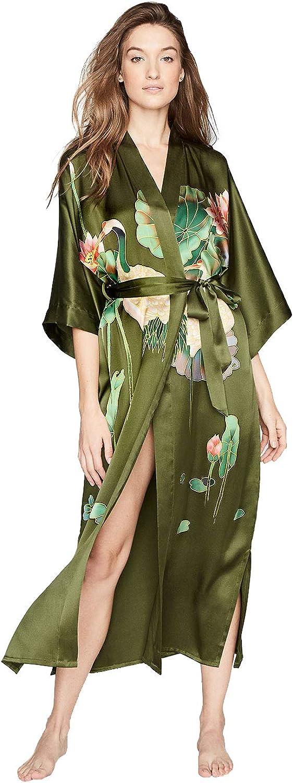 Women's Silk Kimono Robe Long Olive Handpainted - Columbus Mall Crane Seattle Mall