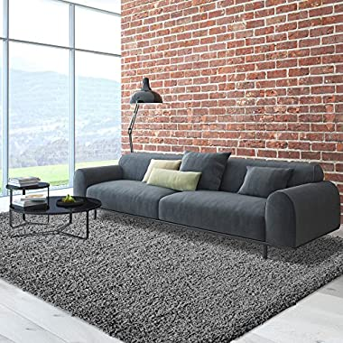 iCustomRug Dixie Cozy Soft And Plush Pile, 5ft0in x 7ft0in (5X7) Shag Area Rug In Charcoal/Dark Grey