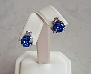Dark Blue 8mm Round Studded Top Made with Swarovski Crystal Simulated Sapphire September Birthstone Hypoallergenic Rhodium Plated Simple Ear Post Earrings Gift Idea