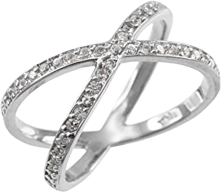 Fine 14k White Gold Diamond-Accented Double