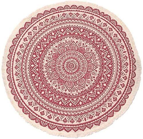 Patroon Mandala Ronde Soft Short Pile Deken Voor Woonkamer Slaapkamer Washable Diameter 35.5 Inch Black,Pink