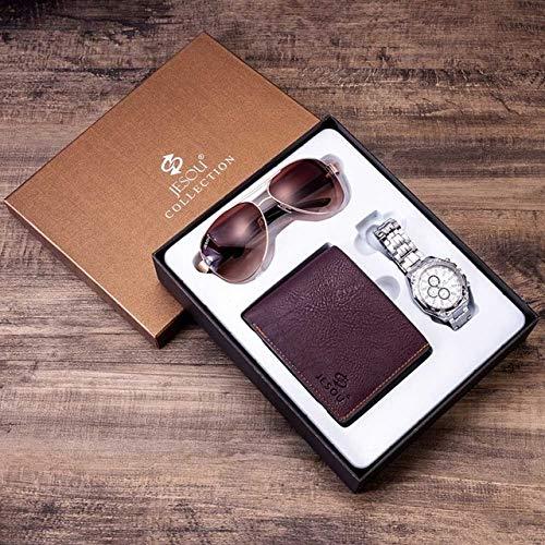 TCEPFS Reloj Set de Regalo Caja Carteras para Hombre Reloj Sungalsses Sets de Regalo Relojes de Acero para Hombre Top Brand Luxury Reloj de Pulsera de Cuarzo Regalos para HombresSet marrón 2
