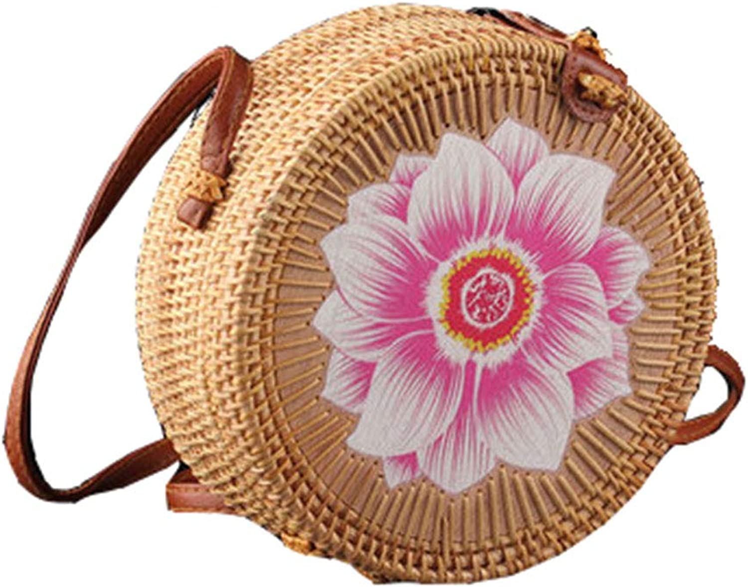 AMYPZN Round Woven Ata Rattan Bag Handmade Petal Rattan Shoulder Beach Bag Crossbody Bag Sunflower Style