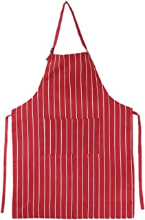 puhoon Apron, Unisex Striped Kitchen Restaurant Chef Aprons with 2 Pockets Polyester, Durable,String Adjustable,Comfortable,Easy Care Bib for Cooking,BBQ,Grill,Clean (Red&White)