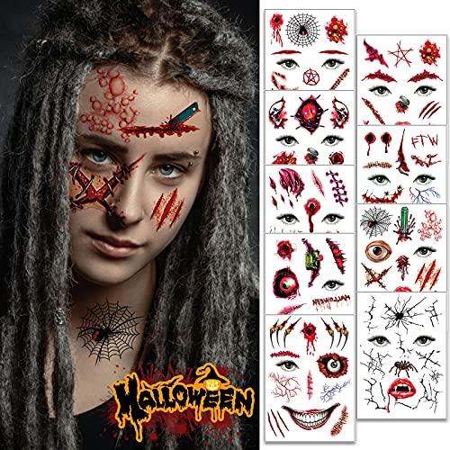 Dasongff Pegatinas para Halloween, cicatrices de Halloween, Halloween, Halloween, tatuajes zombi, heridas para pegar en la cara, para fiestas y disfraces (I, 1 unidad)