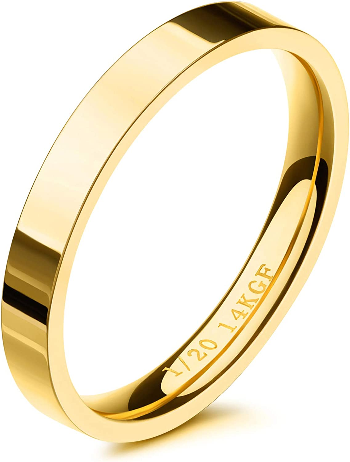 NOKMIT 3mm 14K Gold Filled Rings for Women Girls Stacking Statement Band Pointer Finger Thumb Ring Plain Dome Comfort Fit Size 5 to 10: Clothing, Shoes & Jewelry
