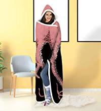 ALISISTER Hooded Blanket Adult Women Men 3D Funny Octopus Sherpa Plush Fleece Wearable Throw Blanket 60 X 80 Inches Pink Home Sofa Winter Super Soft Lightweight for Bed Room Spring