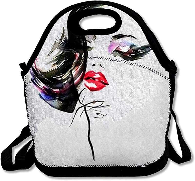 Insulated Lunch Bag Extension Long Eyelashes Abstract Watercolor Lash Purple Make Black Model Reusable Lunch Tote For Work And School