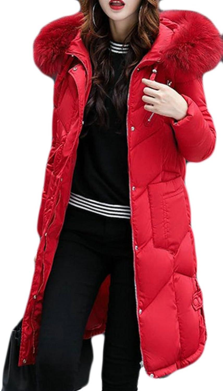 Papijam Womens Faux Fur Hooded Outdoor Puffer Down Coat Parkas Overcoat
