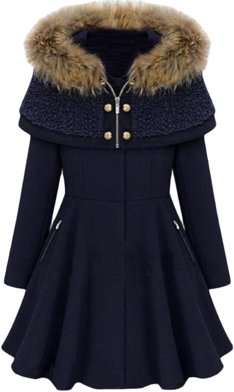 SportsX Women's Solid Fur Collar Poncho Coat Hood Overcoat Worsted Coat