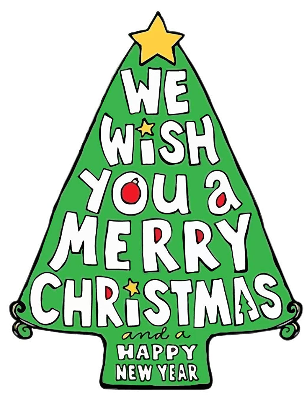 Wish You a Merry Christmas Happy New Year Tree Shape Magnet 10 1/2
