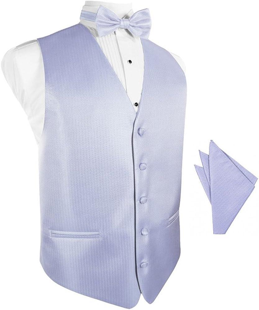 Periwinkle Herringbone Tuxedo Vest with Bowtie & Pocket Square Set