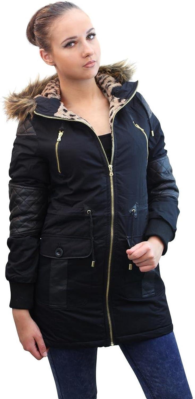 Girl Talk Clothing Amie Leopard Hood Leather Detail Brave Soul Jacket