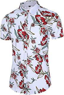 Men's Floral Casual Button Short Sleeve Hawaiian Shirt Beach Vacation Shirt (Color : A, Size : 4XL)