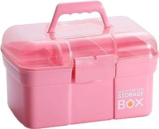 جعبه ذخیره سازی پلاستیکی Kinsorcai 11 اینچی با سینی متحرک ، سازمان دهنده چند منظوره و جعبه ذخیره سازی Art Art و لوازم آرایشی (صورتی)
