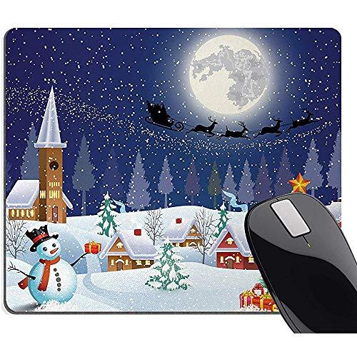 Kerstmis Muis Pad, Winter Seizoen Sneeuwman Kerstboom Kerstman Slee Maan Present Dozen Sneeuw En Sterren, Rechthoek Niet-slip Rubber Mousepad