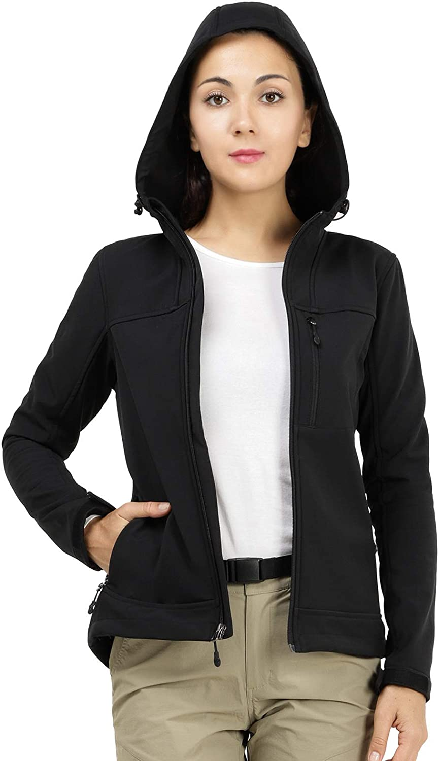MIER Womens Hooded Softshell Jacket Tactical Jacket with Fleece Lined for Hiking Travel Work Casual Black Water Resistant