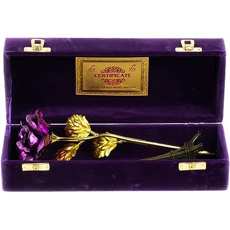 MSA Jewels 24CT Golden Rose Artificial Flower Purple+ Eiffel Tower Combo Pack Velvet Box (30 X 10 X 8 cm,10cm)