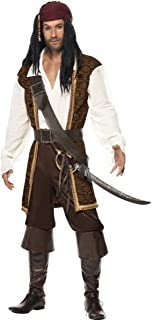 Smiffys Mens Fancy Party Dress Sea Robber Caribbean High Seas Pirate Costume Brown