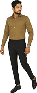 South India SHOPPING MALL Adam Parker Gold Solid Cotton Men Shirt