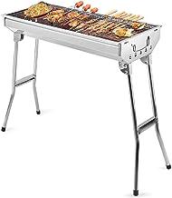 Uten Barbacoa Portátil de Acero Inoxidable Barbacoa Plegable Parrillada Asador al Aire Libre BBQ de Carbón para Cocinar Camping Senderismo Picnics
