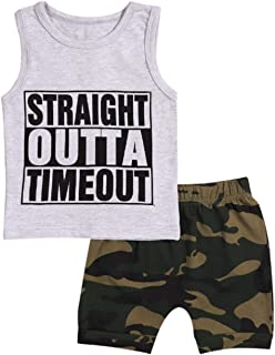 Toddler Infant Baby Boy Clothes Straight Outta Timeout Vest +Camouflage Shorts Outfit Set