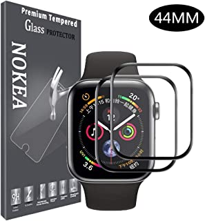 NOKEA Watch Screen Protector Compatible Apple Watch Series 4 44mm, 3D Full Coverage HD Anti-Bubble Anti-Scratch Tempered Glass Screen Protector for Apple iWatch Series 4 44mm (2 Pack)
