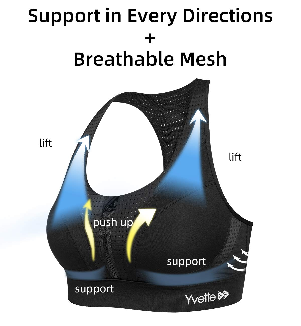 Yvette Sports Bras for Women High Support for Workout