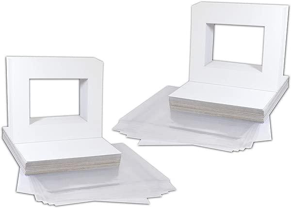 金州艺术包 50 8x10 白色图片垫白色核心斜角切割 5x7 照片背包袋