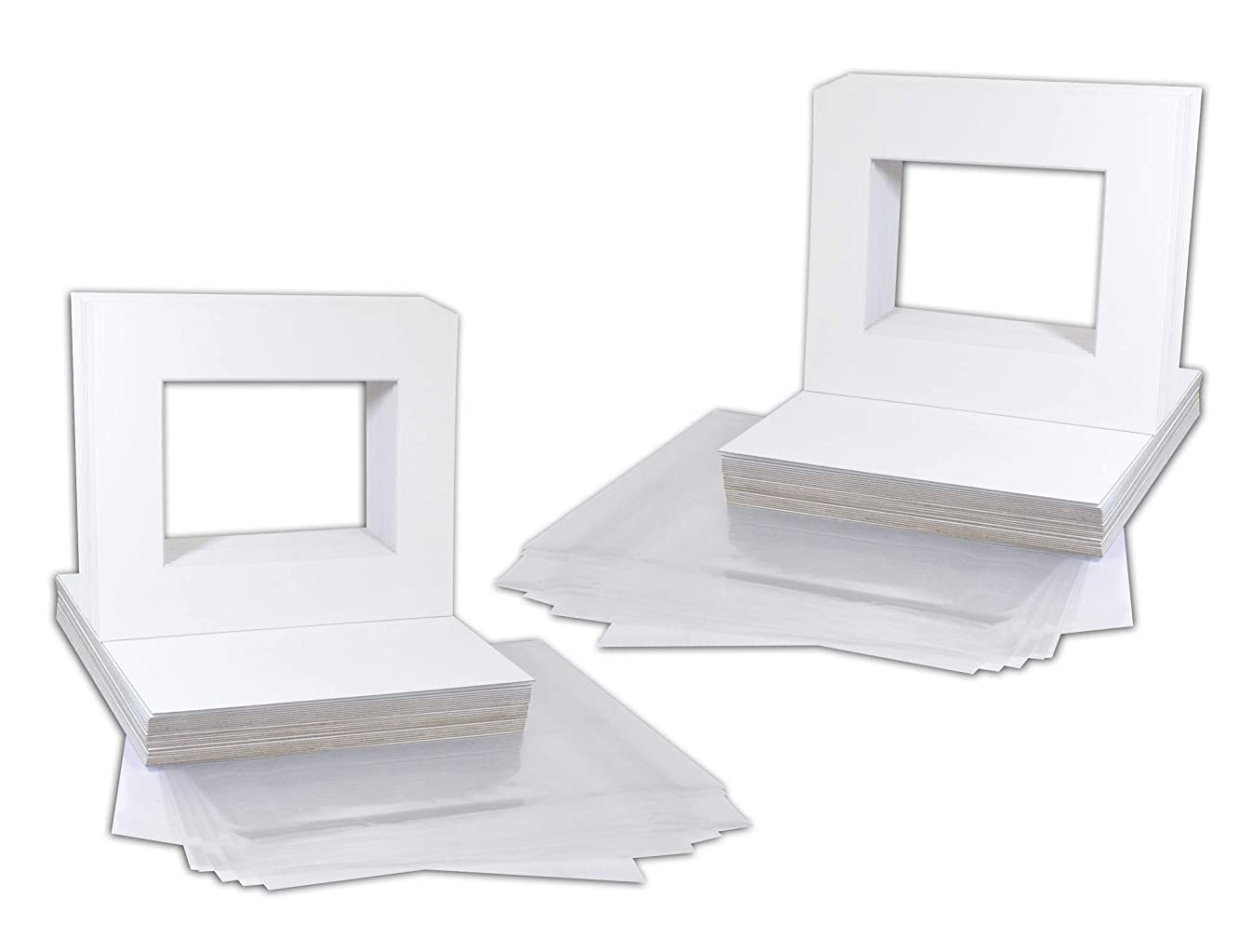 Golden State Art Pack of 50 8x10 White Picture Mats Mattes with White Core Bevel Cut for 5x7 Photo + Backing + Bags