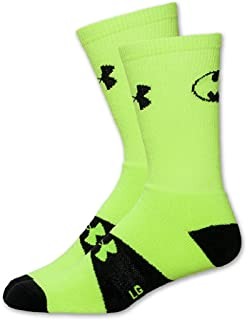 Under Armour Men's Super Hero Crew Socks (Large, Batman (High Vis Yellow/Black))