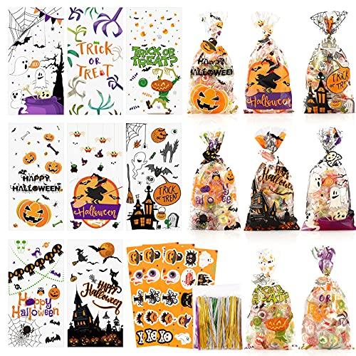 Bolsas de Golosinas de Halloween para Fiestas, CRRMW 200PCS | 8 Tipi | Pegatinas de Halloween Bolsas de Dulces de Halloween para niños para Trucos o Golosinas para Bolsas, Suministros para Fiestas