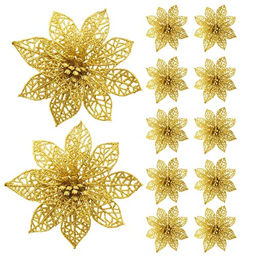 GL-Turelifes 12 Pack Glitter Artificial Poinsettia Flowers Christmas Tree Ornaments 5.9''(15cm) Poinsettia Flower Heads(Gold)