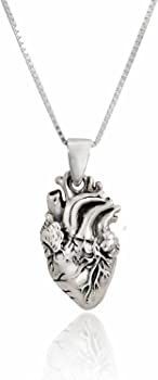 925 Sterling Silver Solid Detailed Gothic Punk Real Heart Pendant