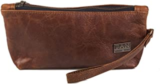 Tan Leather Goods Brooklyn Leather brown Makeup Bag