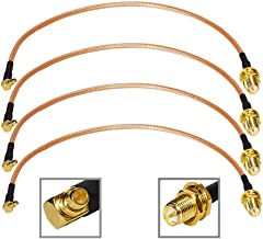 SaferCCTV(TM)4PCS 8 inch MMCX Male Right Angle to RP-SMA Female Jack RG316 Pigtail RF Adapter Connector Cable for WiFi WLAN Antenna RFID UWB WiMAX iBurst Bluetooth Wireless Ethernet MIMO