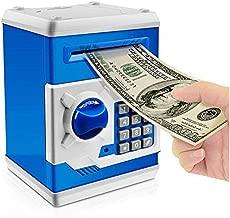 Jhua Cartoon Piggy Bank Password Electronic Money Bank Safe Saving Box ATM Bank Safe Locks Panda Smart Voice Prompt Money Piggy Box for Children (Blue)