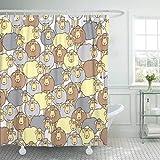 Stoff Duschvorhang mit Haken Braune Landwirtschaft mit Spaß farbige Schaf Muster füllt Webseite Schrott Buchung Baa dekorative Badezimmer behandelt, um Verschlechterung durch Mehltau zu widerstehen