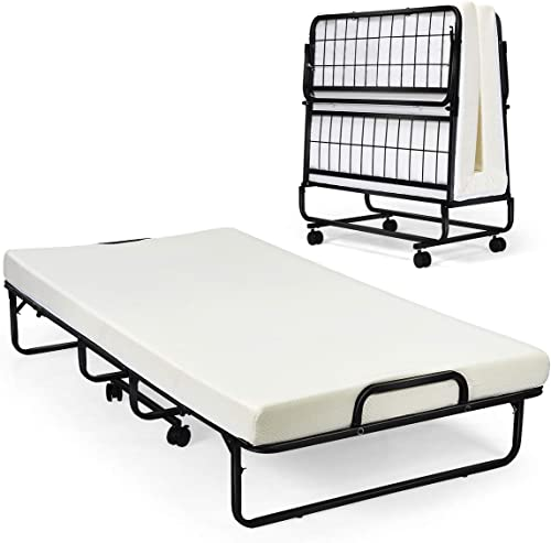 """new arrival Giantex Metal Folding Bed with Mattress, Rollaway Guest Beds w/Super Sturdy Metal Frame and 4"""" Foam Mattress for Adults, Easy Storage, Portable Bed discount on Wheels for Office Room Living lowest Room- Twin Size online"""
