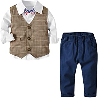 MRULIC Baby Boy Bowtie Gentleman Vest T-Shirt Trousers Wedding Suit Cloth Sets