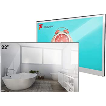Elecsung 22inch Smart Mirror TV for Bathroom IP66 Waterproof Android System with Integrated HDTV(ATSC) Tuner and Built-in Wi-Fi