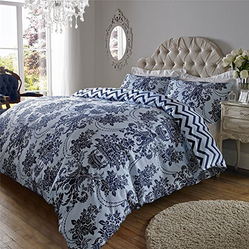 ED Florence Damask Print Cotton Rich Duvet cover Bedding cover set with Housewife Pillowcases 200 Thread Count (Double/Blue Navy)