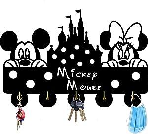 Mickey Mouse Disney Key Hooks,Door Hooks Self-Adhesive Key Holder for Wall Entryway, Kitchen,5 Hook Black Heavty Duty 6lb (Mickey Mouse)
