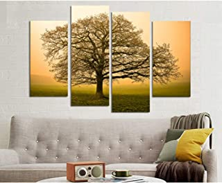 ZXCVWY Autumn Pictures Of Lonely Tree On The Earth New 4 Pieces Landscape Painting Without No Frame Home Decor Hd Print Po...