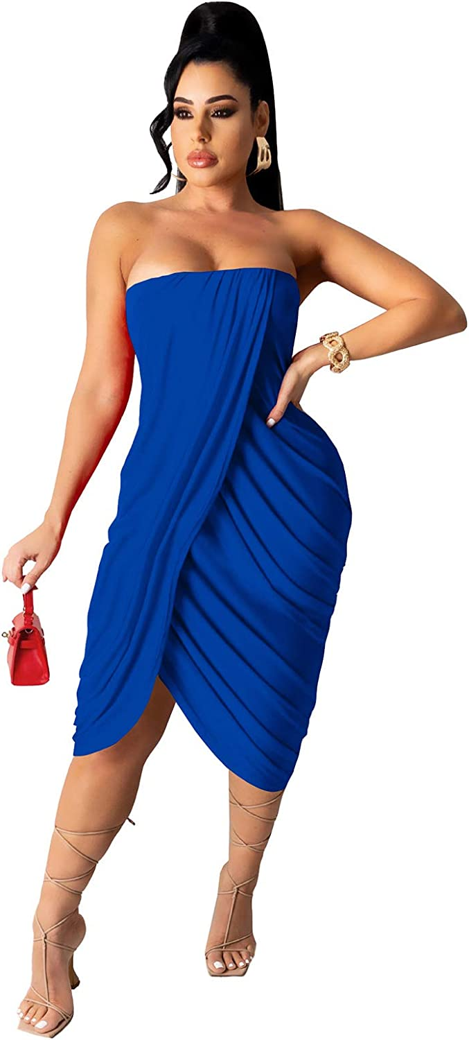 OLUOLIN Women Sexy Strapless Tube Solid Color Bodycon Tight Ruched Wrap T Shirt Mini Short Dress