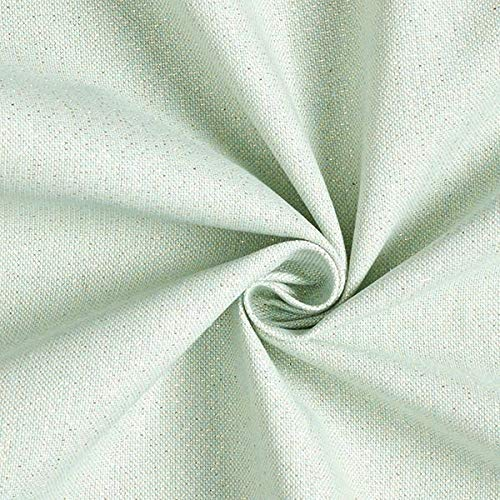 Dekostoff Halbpanama Lurex – mintgrün — Meterware ab 0,5m — zum Nähen von Kissen/Tagesdecken, Sitzgelegenheit & Tischdecken