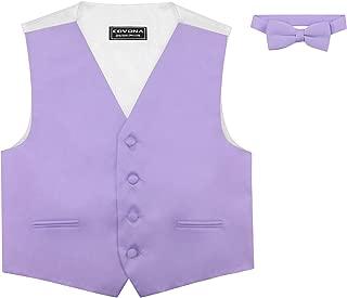 BOY'S Dress Vest BOW TIE Solid LAVENDER PURPLE Color BowTie Set